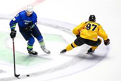Luka Kalan of Slovenia vs Emilijus Krakauskas of Lithuania during ice hockey match between Slovenia and Lithuania at IIHF World Championship DIV. I Group A Kazakhstan 2019, on May 5, 2019 in Barys Arena, Nur-Sultan, Kazakhstan. Photo by Matic Klansek Velej / Sportida