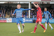 Michael Woods (Hartlepool United) shouts for a throw in as the pressure builds in injury time. C. Boyeson (Referee) has indicated seven minutes of time to be added on during the EFL Sky Bet League 2 match between Hartlepool United and Carlisle United at Victoria Park, Hartlepool, England on 14 April 2017. Photo by Mark P Doherty.