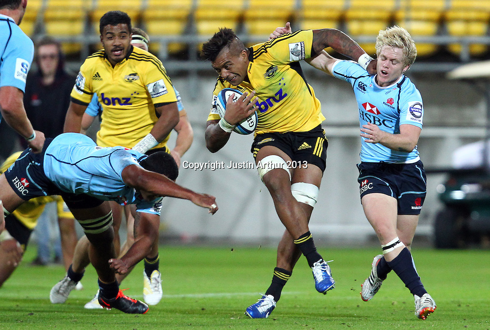 Hurricans' Faifili Levave on the attack during the 2013 Super Rugby season - Hurricanes v Waratahs, Westpac Stadium, Wellington, New Zealand on Saturday 6 April 2013. Photo: Justin Arthur / photosport.co.nz