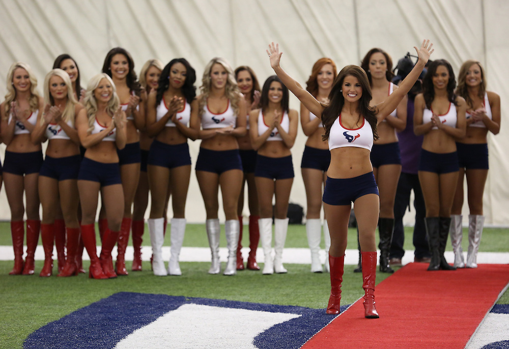 4/16/2014: A newly announced cheerleaders is called. Fifty girls showed up on April 16, 2014 at the Houston Texans practice facility in Houston, Texas to see which 35 girls made the 2014-2015, Houston Texans Cheerleading Team.