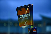 Corner flag at the Rugby Friendly match between Edinburgh Rugby and Bath Rugby at Meggetland Sports Compex, Edinburgh, Scotland on 17 August 2018.