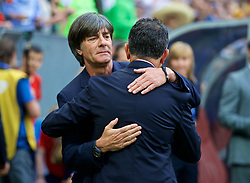MOSCOW, RUSSIA - Sunday, June 17, 2018: Germany's head coach Joachim Low and Mexico's head coach Juan Carlos Osorio during the FIFA World Cup Russia 2018 Group F match between Germany and Mexico at the Luzhniki Stadium. (Pic by David Rawcliffe/Propaganda)