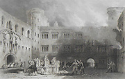 Inner Court of the Palace of Linlithgow, Scotland 1838 , drawn by T Allom
