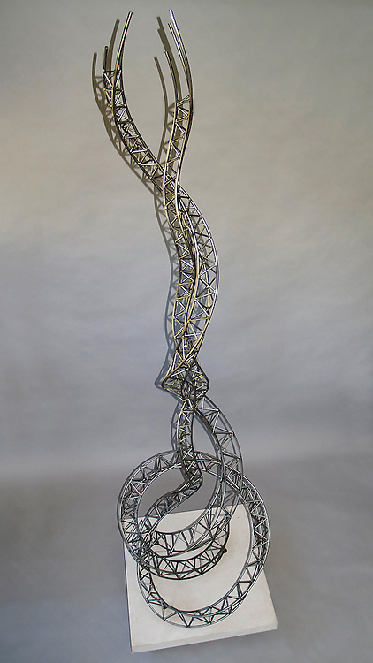 """Uplift<br /> #3 of my 'structural steel' series<br /> 30"""" at the base and 9'3"""" high sculpture, steel, handmade"""