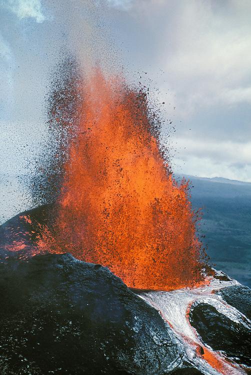 Pu'u O'o volcano erupting with fountaining lava; Hawaii Volcanoes National Park, Island of Hawaii.