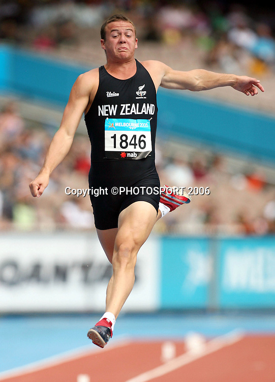 New Zealand athlete Brent Newdick (NZL) competes in the Decathlon long jump on Day 5 of the XVIII Commonwealth Games at the Exhibition Centre, Melbourne, Australia on Monday 20 March, 2006. Photo: Hannah Johnston/PHOTOSPORT<br />