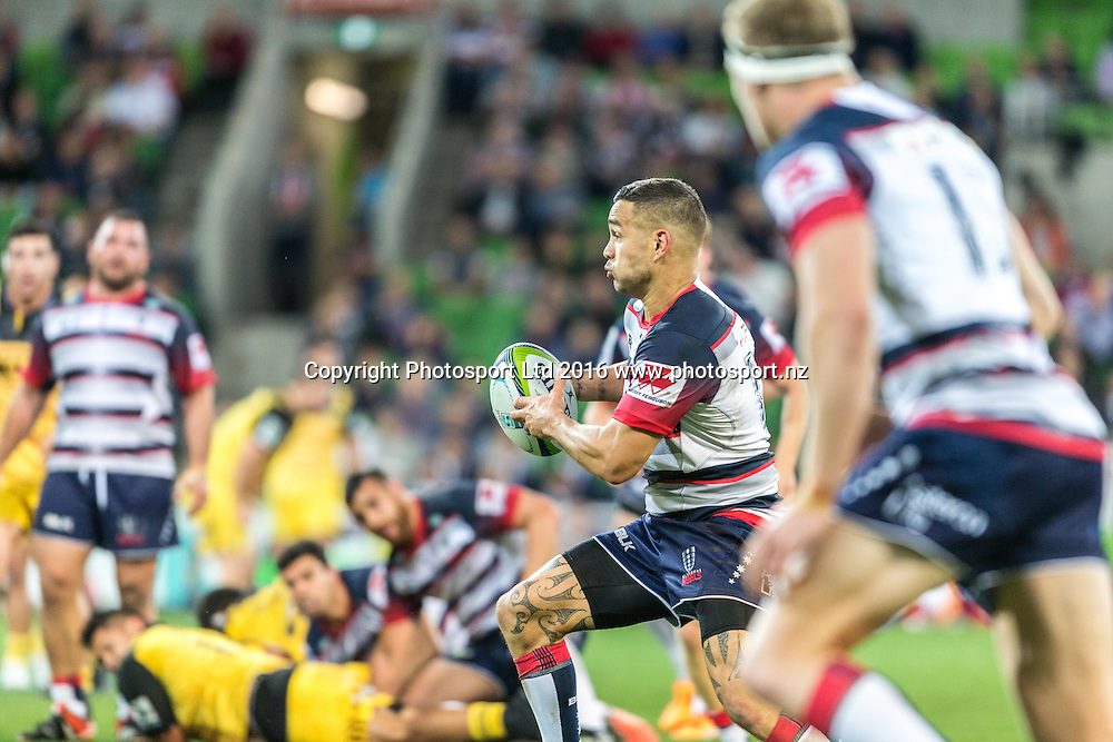 Tamati Elison during the round 8 Super Rugby match between the Melbourne Rebels VS The Hurricanes at AAMI park Melbourne Australia. Friday 15th April 2016. Copyright Photo. Brendon Ratnayake / www.photosport.nz