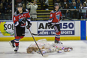 KELOWNA, CANADA - DECEMBER 03:  Teddy Bear Toss at the Kelowna Rockets game on December 03, 2016 at Prospera Place in Kelowna, British Columbia, Canada.  (Photo By Cindy Rogers/Nyasa Photography,  *** Local Caption ***  Tomas Soustal #15 of the Kelowna Rockets, Kole Lind #16 of the Kelowna Rockets