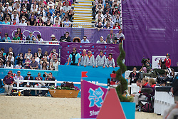 Desmedt Jef (BEL), Guerdat Philippe (SUI), Philippaerts Nicola (BEL), Laeremans Wendy (BEL) supporting for Wathelet Gregory (BEL) - Cadjanine Z<br /> Olympic Games London 2012<br /> © Dirk Caremans