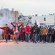 Mar 19, 2016; Harrison, NJ, USA; New York Red Bull Fans heading towards the stadium prior to the match between Houston Dynamo at New York Red Bulls at Red Bull Arena. Red Bulls defeat the Dynamo 4-3. Mandatory Credit: William Hauser-USA TODAY Sports