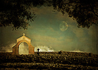 There is something about this scene, combining a brilliant moon with a cemetery scene at night, which can strike you as a bit spooky. However, when you study this scene in greater detail, you can interpret this moment in a number of different ways. Many people can look at something such as this, and imagine something sinister. Others can look at this captivating example of fine art, and see a scene of great lyrical beauty. What are you going to see? This piece can make for a lovely addition to just about any personal or professional space you can imagine.