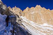 Hikers on the Mount Whitney trail, John Muir Wilderness, Sierra Nevada Mountains, California USA