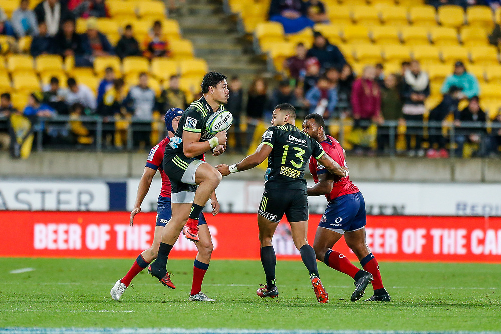 Ben Lam  catches during the Super rugby union game (Round 14) played between Hurricanes v Reds, on 18 May 2018, at Westpac Stadium, Wellington, New  Zealand.    Hurricanes won 38-34.
