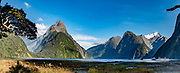Mitre Peak (1683 m/5522 ft), Milford Sound, Fiordland National Park, Southland region, South Island of New Zealand. In 1990, UNESCO honored Te Wahipounamu - South West New Zealand as a World Heritage Area. This image was stitched from multiple overlapping photos.