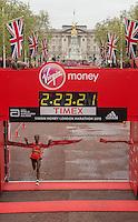 Tigist Tufa of Ethiopia crosses the line to win the Elite Womens race in The Virgin Money London Marathon, Sunday 26th April 2015.<br /> <br /> Dillon Bryden for Virgin Money London Marathon<br /> <br /> For more information please contact Penny Dain at pennyd@london-marathon.co.uk