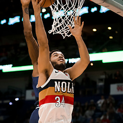 Jan 30, 2019; New Orleans, LA, USA; New Orleans Pelicans guard Kenrich Williams (34) shoots against the Denver Nuggets during the second half at the Smoothie King Center. Mandatory Credit: Derick E. Hingle-USA TODAY Sports