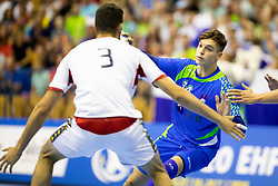 Domen Makuc of Slovenia during handball match between National teams of Portugal and Slovenia in Semifinal of 2018 EHF U20 Men's European Championship, on July 27, 2018 in Arena Zlatorog, Celje, Slovenia. Photo by Urban Urbanc / Sportida