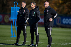 CARDIFF, WALES - Monday, November 18, 2019: Wales' manager Ryan Giggs, assistant coach Albert Stuivenberg, assistant coach Robert Page during a training session at the Vale Resort ahead of the final UEFA Euro 2020 Qualifying Group E match against Hungary. (Pic by David Rawcliffe/Propaganda)