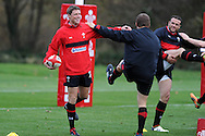Rhys Priestland (l) enjoying training. Wales rugby team training at the Vale resort, Hensol, near Cardiff in South Wales on Thursday 8th November 2012. the team are training ahead of the autumn international series opener against Argentina on the weekend. pic by Andrew Orchard, Andrew Orchard sports photography,