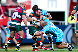 Greg Bateman of Leicester Tigers is tackled by Callum Black and Darren Barry of Worcester Warriors - Mandatory by-line: Robbie Stephenson/JMP - 23/09/2018 - RUGBY - Welford Road Stadium - Leicester, England - Leicester Tigers v Worcester Warriors - Gallagher Premiership