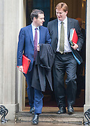 © Licensed to London News Pictures. 18/11/2014. Westminster, UK. Chancellor George Osborne and Chief Secretary to the Treasury Danny Alexander.  Ministers and MP's on Downing Street 18th November 2014. Photo credit : Stephen Simpson/LNP