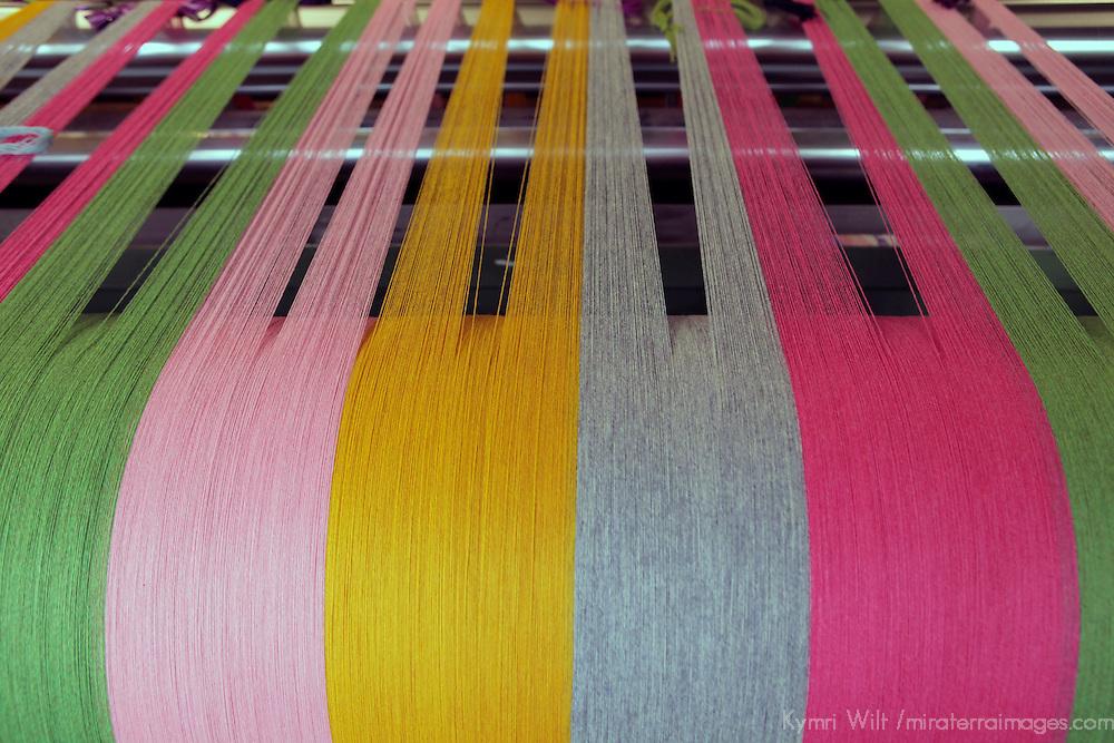 Europe, Ireland, Avoca. Avoca Handweavers Mill, County Wicklow. Woollen yarns on loom.