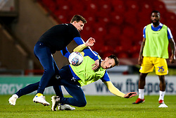Joe Partington and Ollie Clarke of Bristol Rovers warm up at Doncaster Rovers - Mandatory by-line: Robbie Stephenson/JMP - 26/03/2019 - FOOTBALL - Keepmoat Stadium - Doncaster, England - Doncaster Rovers v Bristol Rovers - Sky Bet League One
