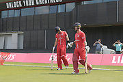 Lancashires Alex Davies & Lancashires Liam Livingstone (Capt) during the Vitality T20 Blast North Group match between Lancashire Lightning and Derbyshire Falcons at the Emirates, Old Trafford, Manchester, United Kingdom on 14 July 2018. Picture by George Franks.