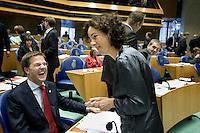 Nederland. Den Haag, 20 september 2007.<br /> Tweede dag algemene politieke beschouwingen in de tweede kamer.<br /> Femke Halsema en Mark Rutte aan het begin van de lunchpauze.<br /> Foto Martijn Beekman <br /> NIET VOOR TROUW, AD, TELEGRAAF, NRC EN HET PAROOL