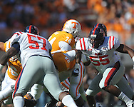 Ole Miss defensive end Cameron Whigham (55) runs to the ball in a college football game at Neyland Stadium in Knoxville, Tenn. on Saturday, November 13, 2010. Tennessee won 52-14.