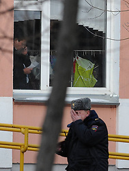 61009828<br /> Police investigate at the Moscow secondary school 263 in Moscow, Russia, Feb. 3, 2014. A gunman who had taken about 20 students hostage at a Moscow public school was detained and all hostages were rescued, the Interior Ministry said Monday. The gunman, a senior student of the Moscow secondary school 263, killed a policeman and a teacher, and injured another police officer, Moscow, Russia, Monday, 3rd February 2014. Picture by  imago / i-Images<br /> UK ONLY