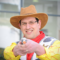 08.03.2012.Jewish Care celebrates Purim. Pictured is Fundraising Director Daniel Carmel-Brown, dressed as Woody from Toy Story. .Photography (C) Blake-Ezra Cole. www.blakeezracole.com