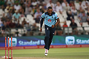 Chris Jordan celebrates his wicket during the One Day International match between South Africa and England at PPC Newlands, Capetown, South Africa on 4 February 2020.