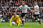 Derby forward Johnny Russell scores his second goal - Derby's 4th - during the Sky Bet Championship match between Derby County and Bolton Wanderers at the iPro Stadium, Derby, England on 9 April 2016. Photo by Aaron  Lupton.