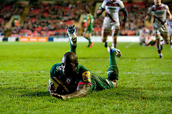 Miles Benjamin of Leicester Tigers scores a try - Photo mandatory by-line: Patrick Khachfe/JMP - Mobile: 07966 386802 09/11/2014 - SPORT - RUGBY UNION - Leicester - Welford Road - Leicester Tigers v Sale Sharks - LV= Cup