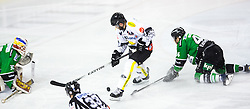 22.02.2015, Hala Tivoli, Ljubljana, SLO, EBEL, HDD Telemach Olimpija Ljubljana vs Dornbirner EC, 6. Qualification Round, in picture Guillaume Desbiens (Dornbirner EC, #41) vs Maks Selan (HDD Telemach Olimpija, #44) and Miika Wiikman (HDD Telemach Olimpija, #35) during the Erste Bank Icehockey League 6. Qualification Round between HDD Telemach Olimpija Ljubljana and Dornbirner EC at the Hala Tivoli, Ljubljana, Slovenia on 2015/02/22. Photo by Matic Klansek Velej / Sportida