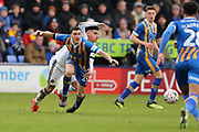Wolverhampton Wanderers defender Conor Coady (16) fouls Shrewsbury Town's Oliver Norburn during the The FA Cup fourth round match between Shrewsbury Town and Wolverhampton Wanderers at Greenhous Meadow, Shrewsbury, England on 26 January 2019.