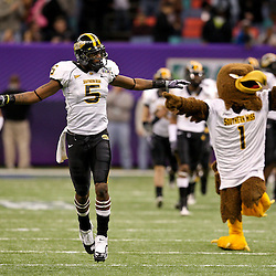 Dec 20, 2009; New Orleans, LA, USA; Southern Miss Golden Eagles wide receiver DeAndre Brown (5) runs on to the field prior to kickoff against the Middle Tennessee State Blue Raiders for the start of the 2009 New Orleans Bowl at the Louisiana Superdome.  Mandatory Credit: Derick E. Hingle-US PRESSWIRE