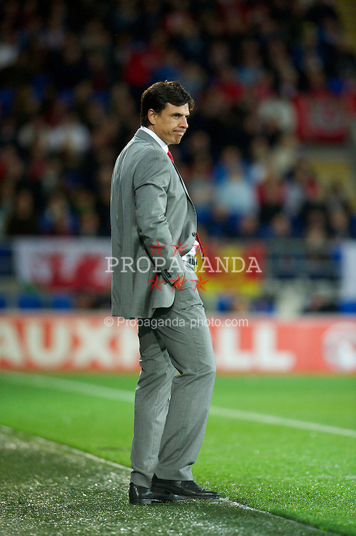 CARDIFF, WALES - Friday, October 12, 2012: Wales' manager Chris Coleman on the touch-line during the Brazil 2014 FIFA World Cup Qualifying Group A match against Scotland at the Cardiff City Stadium. (Pic by David Rawcliffe/Propaganda)