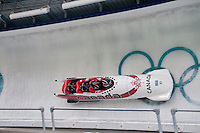 Teams from Canada compete in the four-man bobsleigh finals during the 2010 Olympic Winter Games in Whistler, BC Canada.