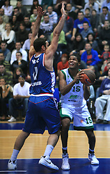 Verdan Vukusic (11) and Ulysses Tamar Slay (15) at Euroleague match between KK Cibona and Air Avellino, on November 26, 2008, in Cibona Tower, Zagreb, Croatia. Match was won by Cibona 82:79. (Photo by Vid Ponikvar / Sportida)