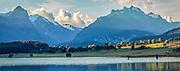 Panoramic of fishermen at Diamond Lake, Paradise, New Zealand