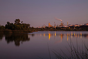 Phillips 66 oil refinery from Ken Malloy Harbor Regional Park, Wilmington, California, USA