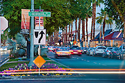 Busy El Paseo Drive, Palm Desert, CA, Boutiques; famous; retailers; fashion; haute couture; shopping, Restaurants