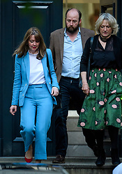 © Licensed to London News Pictures. 09/06/2017. London, UK. NICK TIMOTHY (C) and FIONA HILL (L), advisors to leader of the conservative party Theresa May, are seen leaving Conservative Party headquarters on the morning of the general election results. Photo credit: Ben Cawthra/LNP