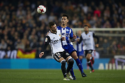 January 17, 2018 - Valencia, Valencia, Spain - Hernan Perez (R) of Deportivo Alaves competes for the ball with Jose Luis Gaya of Valencia CF during the Copa del Rey quarter-final first leg  game between Valencia CF and Deportivo Alaves at Mestalla stadium on January 17, 2018 in Valencia, Spain  (Credit Image: © David Aliaga/NurPhoto via ZUMA Press)