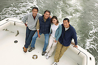 Family on boat (portrait) (elevated view)