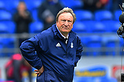 Cardiff City manager Neil Warnock looks unimpressed and annoyed at full time after his team lost 2-1 to chelsea due to controversial decisions by referee Craig Pawson and his assistants effecting the result during the Premier League match between Cardiff City and Chelsea at the Cardiff City Stadium, Cardiff, Wales on 31 March 2019.