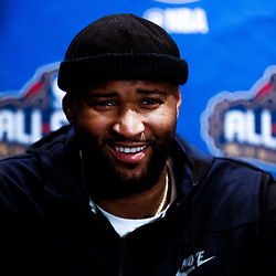 Feb 17, 2017; New Orleans, LA, USA; Western Conference All Star DeMarcus Cousins during the All Star media availability at the Ritz Carlton. Mandatory Credit: Derick E. Hingle-USA TODAY Sports