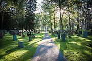 Tidig morgon på Skogskyrkogården i Stockholm